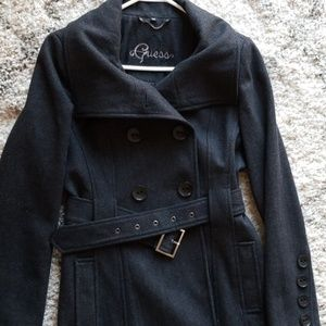 Charcoal gray belted wool coat
